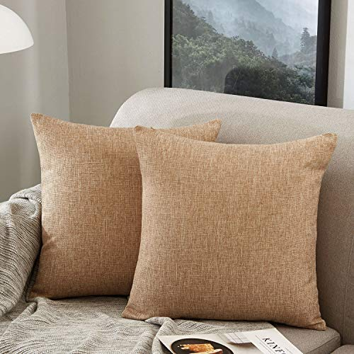 MERNETTE Pack of 2, Linen Decorative Square Throw Pillow Cover Cushion Covers Pillowcase, Home Decor Decorations For Sofa Couch Bed Chair 18x18 Inch/45x45 cm (Light Brown)