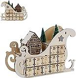 LEMESO Calendario dell'Avvento per Natale 2021 in Legno a Forma di Slitta con 24 Cassetti da Riempire con Luci per Sorpresa e Regali per Ciocolatini Caramelle Addobbi Decorazioni Natalizi