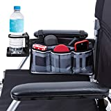 Wheelchair Side Bag with Large Cup Holder - Arm Rest Pouch and Drink