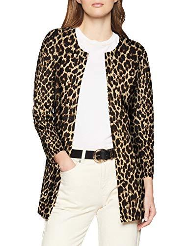 ONLY Damen onlLECO 7/8 Long Cardigan JRS Strickjacke, Mehrfarbig (Black AOP: Big Leo), 34 (Herstellergröße: XS)