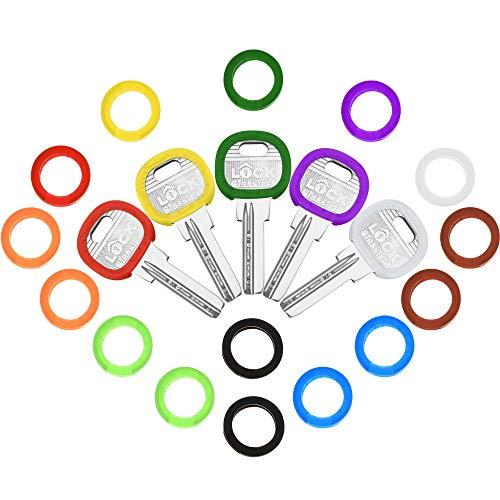 20 Stück Schlüssel Kappen Abdeckungen Tags Flexibel Schlüsselabdeckungen Kunststoff Schlüssel identifikationsringe zur Einfachen Identifizierung von Schlüsseln, 10 Farben (Runde Tastenkappen)