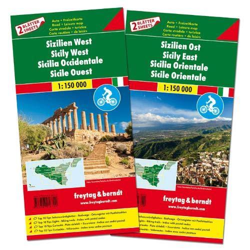 F&B Sicilië Oost en West, set 2 kaarten: Set wegenkaarten 1:150 000