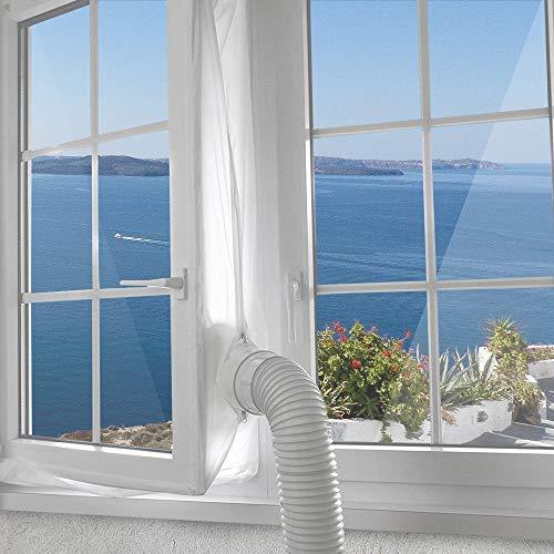 Jajadeal 300cm Universal Fensterabdichtung Für Mobile Klimageräte, Abluft-Wäschetrockner, Ablufttrockner, Bautrockner, Luftentfeuchter, Hot Air Stop zum Anbringen an Fenster Dachfenster Flügelfenster