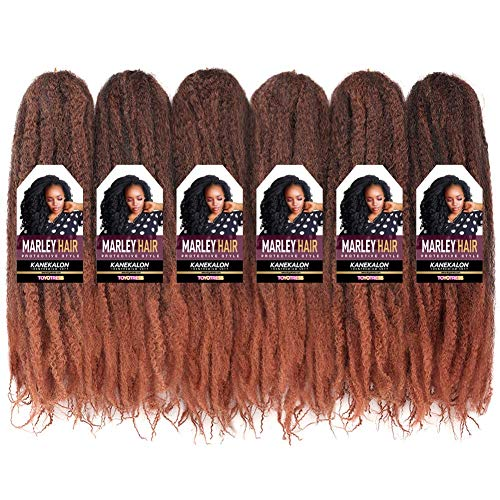 Toyotress Marley Hair Crochet Braids - 16 inch 6 Packs for Faux Locs Afro Kinky Marley Crochet Braids Synthetic Braiding Hair Extensions (16 inch, T30)