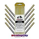 WeldingCity 10-pcs Premium TIG Welding Tungsten Electrode Rod 1.5% Lanthanated (Gold/AWS: EWLa15) 3/32' x 7' | 10-pk