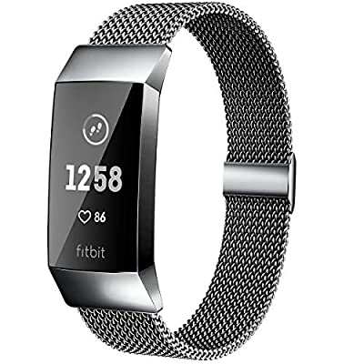 MioHHR Metal Bands Compatible with Fitbit Charge 3 / Charge 4 Bands for Women Men, Breathable Stainless Steel Replacement Wristband Accessories for Charge 3 SE Fitness Activity Tracker, Space Grey