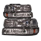 HEADLIGHTSDEPOT Halogen Headlights Smoke Set with Bulbs Compatible with Chevrolet Silverado 1500 HD 2500 3500 Suburban Tahoe Includes Left Driver and Right Passenger Side Headlamps