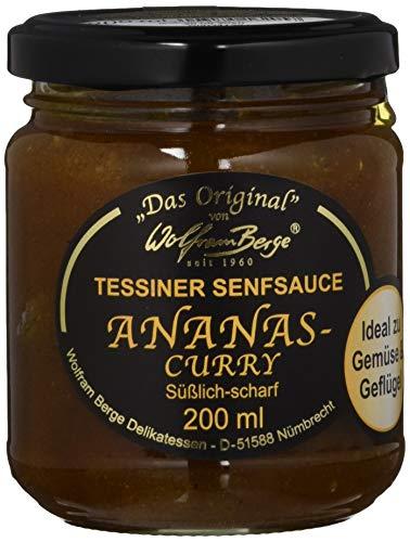 Wolfram Berge Original Tessiner Ananas-Curry-Senfsauce - Feinkostsauce aus pürierten kandierten Ananas mit Curry und fein-scharfem Senfgeschmack. Hergestellt im Schweizer Tessin. 3er Pack (3 x 200 ml)