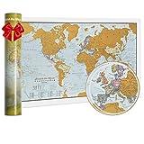 Carte du monde Scratch the World® - édition de voyage - cadeau de voyage - format A3 42cm...