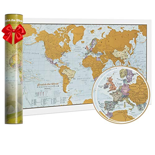 Carte du monde Scratch the World® - édition de voyage - cadeau de voyage - format A3 42cm (largeur) x 29,7 cm (hauteur)