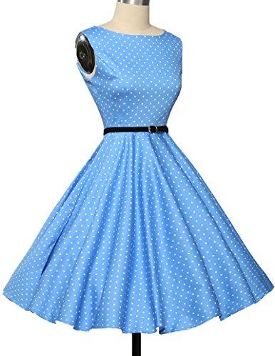 Damen rockabilly kleid 50s vintage sommerkleid polka dots audrey hepburn kleid cocktailkleider S - 4
