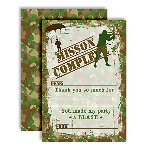 Top Secret Camouflage Army Soldier-Themed Thank You Notes for Boys, Ten 4' x 5.5' Fill In The Blank Cards with 10 White Envelopes by AmandaCreation