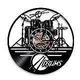 ビニール時計、ギタードラムビニールレコードデザインの壁時計、非刻々の装飾 - ロックバンド音楽アート - 音楽ファンのための最高の贈り物,b