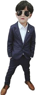 (チェリーレッド) CherryRed 男の子 フォーマルスーツ 縦縞 ネイビー 上下セット