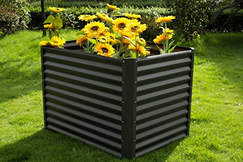 OUTFLEXX Hochbeet aus hochwertiger Zinkalume in Anthrazit, ca. 120x90x84 cm, zur Anzucht von Gemüse, Kräuter und Blumen, Frühbeet aus Metall, pflegeleicht, platzsparend und schnell montiert