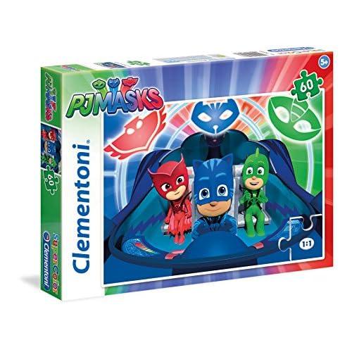 Clementoni Masks-60 pcs-Supercolor Masks PJ MARKS Puzzle, Multicolore, 60 Pezzi, 26972