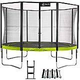 Kangui - Trampoline de Jardin Rond 430 cm + Filet de sécurité + échelle + kit d'ancrage PUNCHI Vert 430