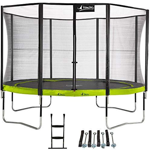 Kangui - Trampoline de Jardin 365 cm + Filet de sécurité + échelle + kit d'ancrage PUNCHI Vert 360