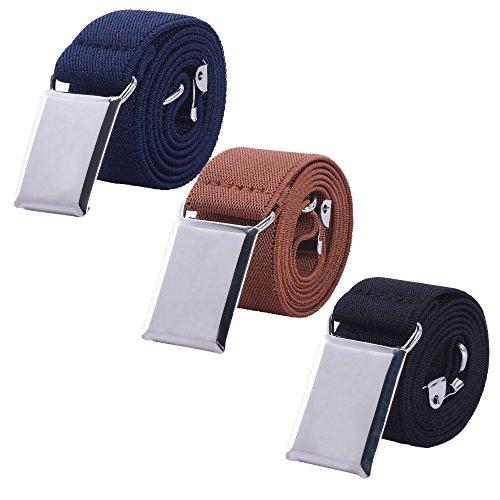 Toddler Boy Kids Buckle Belt - Adjustable Elastic Child Silver Buckle Belts, 3 Pieces (Navy blue/Brown/Black)