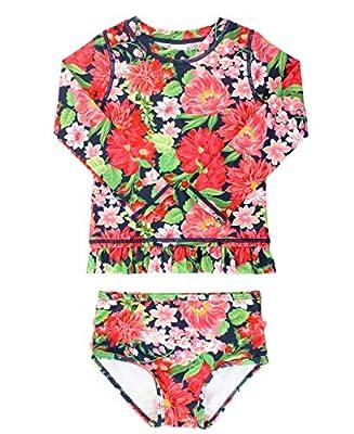 RuffleButts Baby/Toddler Girls Sunset Garden Long Sleeve Rash Guard Bikini - 3-6m