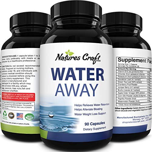 Water Away Supplement for Men and Women Natural Diuretic Pills Relieve Water Retention Fast Reduce Bloating Swelling Pure Dandelion Green Tea 90 Capsules by Natures Craft