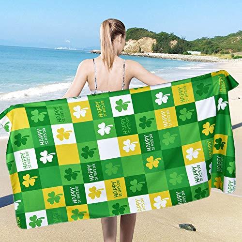 Toalla de playa para el día de San Patricio, toallas de playa de trébol, toallas suaves y grandes, multiusos para baño, hotel, gimnasio y spa (80 x 150 cm)