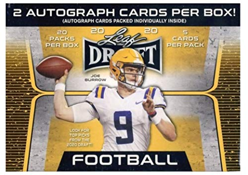 2020 Leaf Draft Football HUGE Factory Sealed 20 Pack Retail Box with TWO(2) AUTOGRAPHS & (90) ROOKIE Cards! Look for RC & AUTOS of Joe Burrow, Tua Tagovailoa, Justin Herbert & Many More! WOWZZER! (Auto Autograph Card)