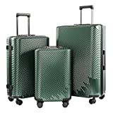 Coolife Luggage 3 Piece Sets PC+ABS Spinner Suitcase carry on Fashion (Dark green, One_Size)