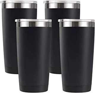 Amtidy 20oz Travel Tumbler with Splash Proof Lid, 4 Pack Stainless Steel Vacuum Insulated Double Wall Thermal Cup, Durable Powder Coated Insulated Coffee Mug(Black)