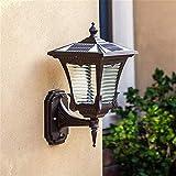 Lámpara industrial, Luces de pared luz solar al aire libre estilo europeo retro clásico patrón de agua sombra de vidrio fundido de aluminio fuera impermeable al agua color linterna pared escono e27 zó