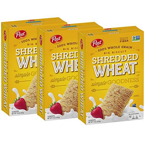 Post Shredded Wheat Cereal, Original Big Biscuit, 100% Whole Grain, No Sugar or Salt Added, 15-Ounce Box (Pack of 3)