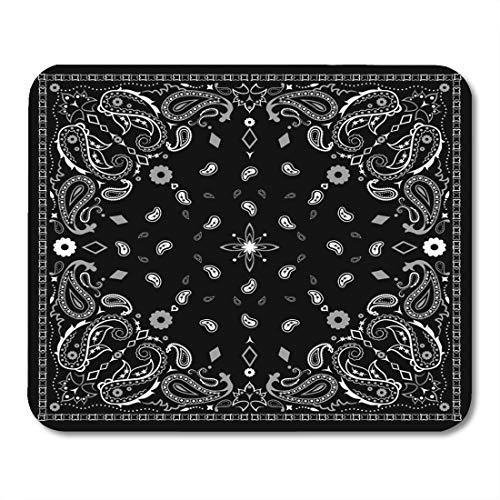 Muismat Nek Kleurrijke Border Zwart Paisley Bandana Patroon Wit Bandanna Moderne mouses pad Mousepad