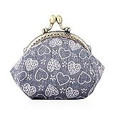Oyachic Monedero para Mujer Corazón Coin Purse Kiss-Lock Monedas Cartera Cierre Clic-Clac Wallet Retro Vintage Bolso Pequeño para Llaves (Gris)
