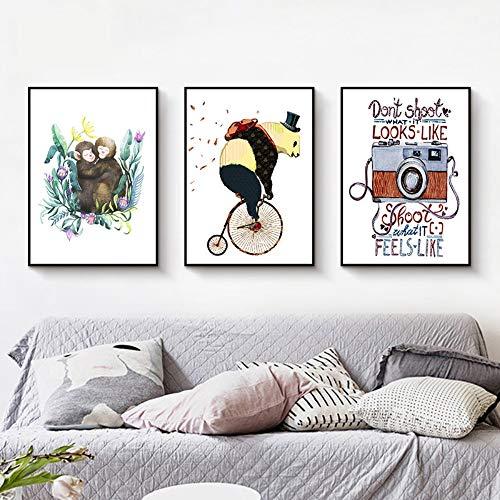 ZSHSCL Canvas Print Schilderij 3 Stuk Moderne Cartoon Dieren Panda Rijden Aap Canvas Schilderij Vintage Camera Posters Prints Wall Art Picture Voor Kids Room Decor 60x80cm No Frame