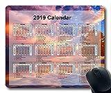 Yanteng Calendario 2019 con Cojines Importantes para Las Fiestas, Mouse Pad, Cielo y Arena Gaming Mouse Pad
