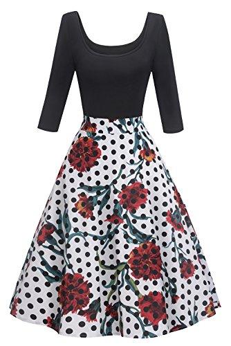 MisShow Damen 1950er Vintage Rockabilly Abendkleid Rundausschnitt Geblühmt Cocktailkleid mit Langarm FS2739 Gr.S