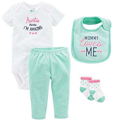 Simple Joys by Carter's Baby Girls' 4-Piece Bodysuit, Pant, Bib and Sock Set, Mint Auntie, 12 Months