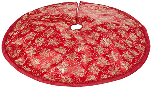 47.2' Red Fabric With Gold Glitter Christmas Tree Skirt - Red/Gold