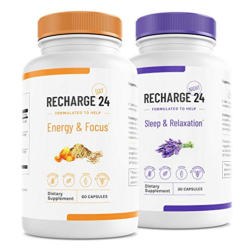 RECHARGE24 AM/PM Energy Pills and Sleep Aid, Non-Crash Sustained Performance, 100% Natural Herbal Blend with 200 mg Natural Caffeine, All Natural Sleeping Pills, 30 Day Supply
