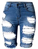 OLRAIN Womens High Waist Ripped Hole Washed Distressed Short Jeans 16 Blue