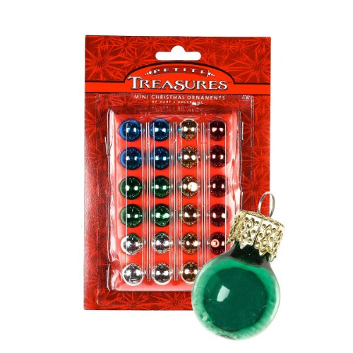 24ct Petite Treasures Shiny Multi-Color Mini Glass Ball Christmas Ornaments .6' (15mm)