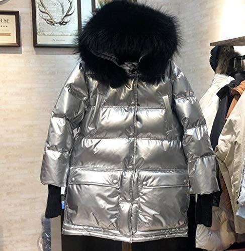 YRFDM Daunenjacke,Große echte Kragen Kapuze 2019 Neue 90% weiße Daunenjacke Frauen wasserdicht glänzend Schnee Parka weibliche Outwear, Silber, M