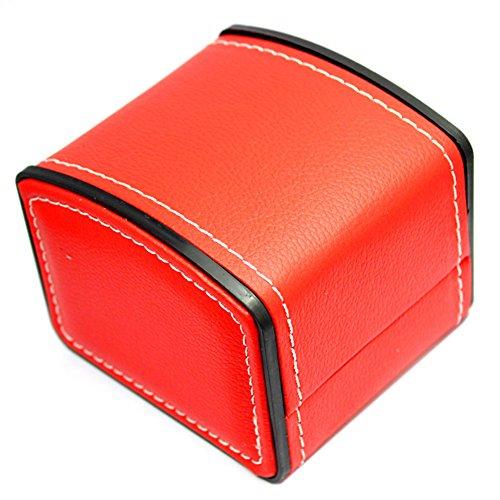 Milopon Leder Uhr Box mit Kissen Uhr Verpackung für Armband Ohrring Armbanduhr Box rot