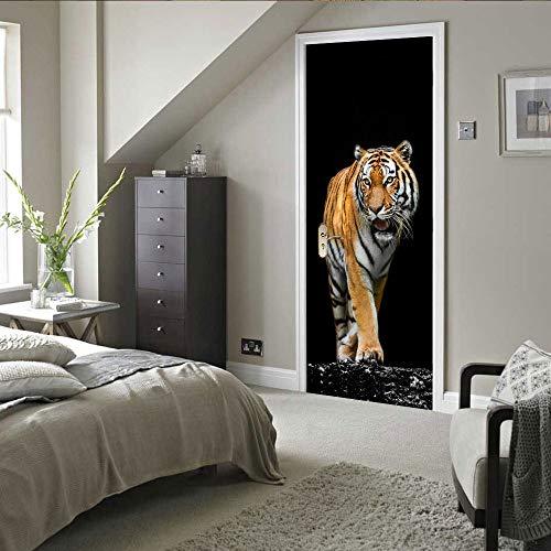 Pegatinas de puerta 3D, pegatinas de arte mural autoadhesivas, dormitorio, sala de estar, oficina, baño, decoración del hogar, tigre
