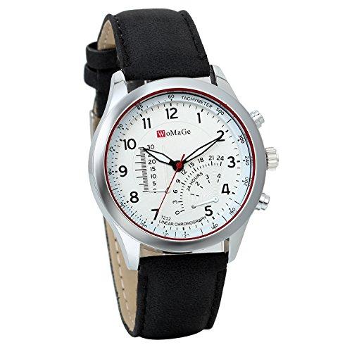 JewelryWe Herren Quarz Uhr Armbanduhr Herrenuhr Einzeigeruhr Leder Armband,24H Digital Zifferblatt Temperaturanzeige, Braun