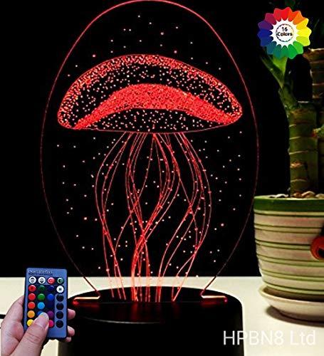 HPBN8 3D Quallen Illusions LED Lampe 7/16 Farbwechsel Fernbedienung Berühren Schreibtisch-Nacht licht mit USB-Kabel Kinder Weihnachten Geburtstagsgeschenke