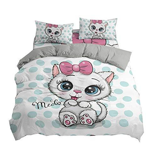DMHunt Soft Microfiber Cartoon Cat Bedding Set Boys Kids Teens Adult Girls Duvet Cover Set with Pillow Shams Lightweight Child Bed Set,No Comforter(Cat,Twin)