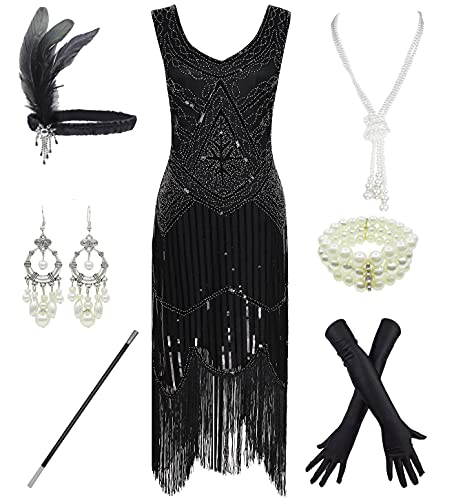 1920s Gatsby Sequin Fringed Paisley Flapper Dress with 20s Accessories Set (M, Black)
