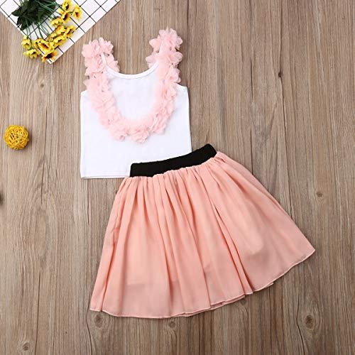 Loalirando Madre e hija vestido elegante para familia Top camiseta sin espalda con flor + falda tul para ballet rosa niña 90 cm(18-24 meses)