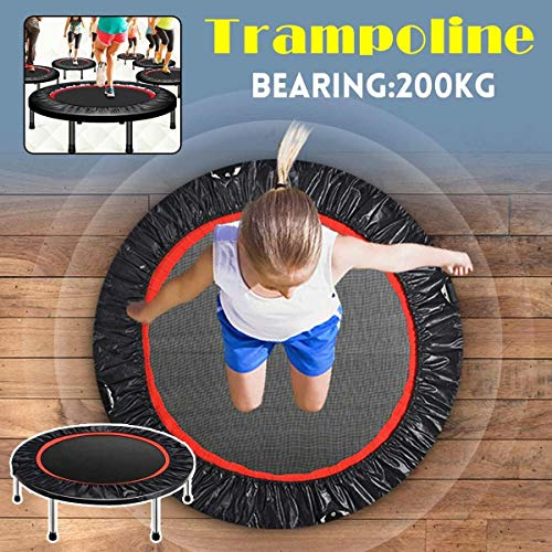 Zcm Indoor Trampolines 40' Trampoline Bouncing Bed Foldable Fitness indoor Bungee Rebounder Jumping Cardio Trainer Elastic Gym Yoga Exercise 100x120cm (Color : Black)